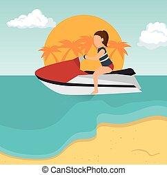 Vacaciones de playa tropical de motos de agua