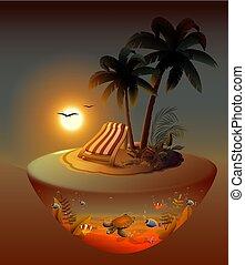 Vacaciones de verano en la isla tropical nocturna bajo palmeras