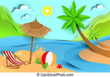 Vacaciones de verano en la playa. Un paisaje tropical