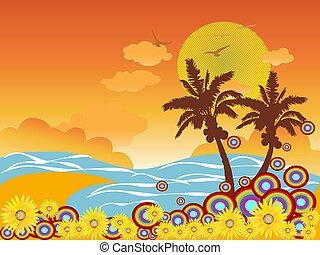Vacaciones en la playa de Palm Tree