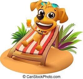 Vacaciones en la playa de verano. Perro amarillo