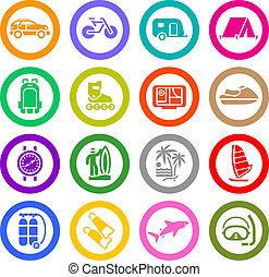 Vacaciones, recreo, viajes, iconos