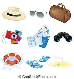 Vacaciones vectores y iconos de viaje