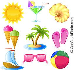 Vacaciones y iconos de viaje