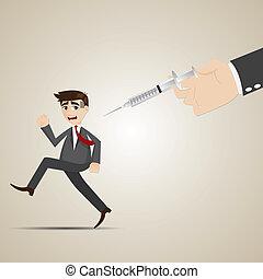 vacunación, hombre de negocios, lejos, corra, caricatura