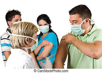 vacunar, gente, doctor, grupo