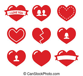 valentine, corazones, conjunto, amor, iconos