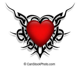 valentine, diseño, corazón, tatuaje
