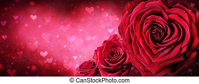 valentines, forma corazón, día, rosas, bandera, rojo