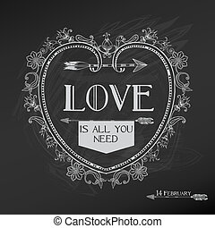 valentino, vendimia, -, amor, vector, diseño, día boda, tarjeta