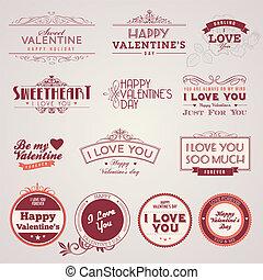 valentino, vendimia, día, etiquetas