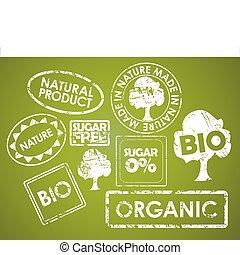 vales para alimentos, conjunto, orgánico