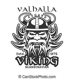 Valhalla Asgard, huella de camiseta de un guerrero vikingo