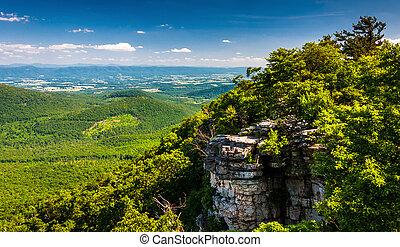 valle, virginia., grande, nacional, washington, shenandoah, schloss, bosque, vistos, acantilados, george, vista