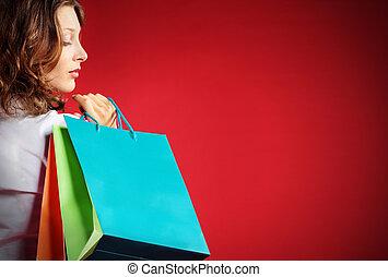 valor en cartera de mujer, contra, bolsas de compras, plano de fondo, rojo