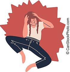 valor en cartera de mujer, pensamiento, problemas, solo, triste, cabeza, depresión, sobre, ilustración, sentado, aislado, vector, ella, blanco