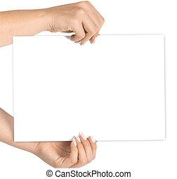 valor en cartera instrumentos de crédito, mano, empresa / negocio, pointing., blanco, bandera, mockup., aislado, fondo., space., dedo, tarjeta, copia, blanco