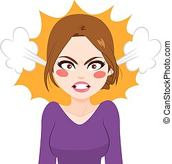 vapor, mujer enojada