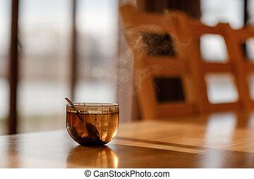 vapor, selectivo, de madera, té, vida, room., foco, taza, tabla