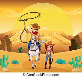 vaquera, desierto, vaquero