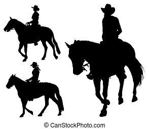 vaquera, equitación, caballo, siluetas