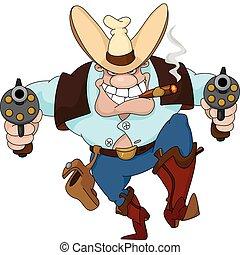 Vaquero con revólveres
