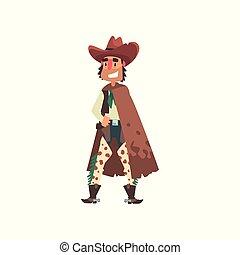 Vaquero divertido vector de dibujos animados occidentales vector Ilustración en un fondo blanco