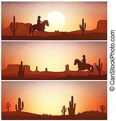 Vaquero montando a caballo contra el fondo del atardecer. Siluetas del salvaje oeste