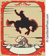 Vaquero Rodeo, carrera de caballos, póster gráfico del vector con antecedentes grunge por texto