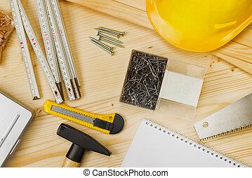 variado, carpintería, construcción, herramientas, o, carpintería