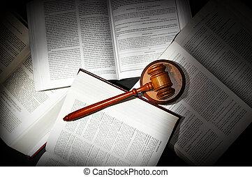 variado, luz, dramático, legal, libros, ley, abierto, martillo