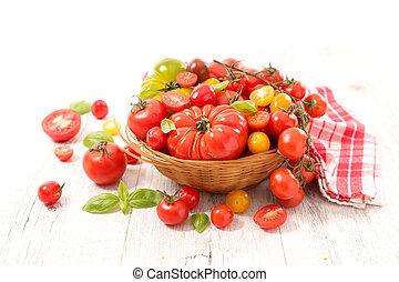 variado, tomates, diferente, variedad