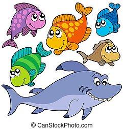 Varias colecciones de peces animados