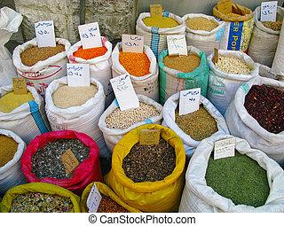 Varias especias en el mercado Jordan
