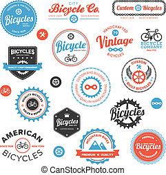Varias etiquetas de bicicleta y emblemas