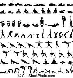 Varias posturas de yoga siluetas v