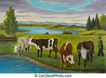 Varias vacas paradas junto al agua para beber