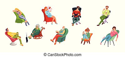 vario, hombres, diferente, sentado, style., conjunto, plano, ilustración, mujeres, caricatura, chairs., relajar, vector