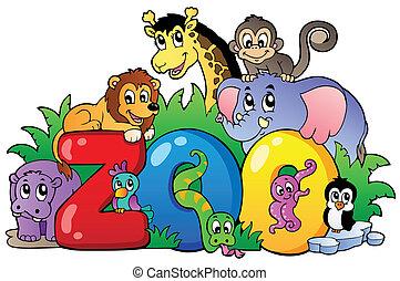 vario, zoo, animales, señal