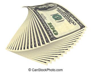 Varios billetes de dólares aislados en blanco