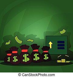 Varios bolsos empatados coloridos con billetes de dólar y monedas de oro apilándose. Tabla de información de flecha apuntando hacia arriba y billetes en blanco. Espacio vacío para textos y gráficos.