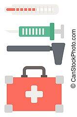 Varios equipos médicos.