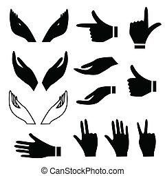 Varios gestos de manos