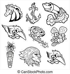 Varios personajes de mascota tatuajes