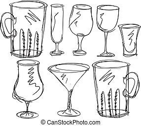 Varios tipos de gafas. Ilustración del vector