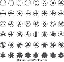 Varios tornillos cabeza silueta set