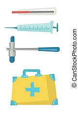 Varios vectores de ilustración de equipos médicos.