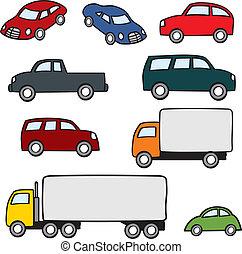 Varios vehículos de dibujos animados