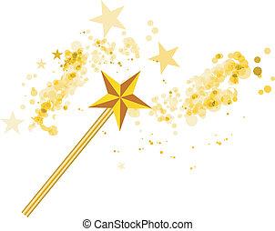Varita mágica con estrellas mágicas en blanco