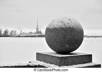 vasilievsky, pelota, island., flecha, granito
